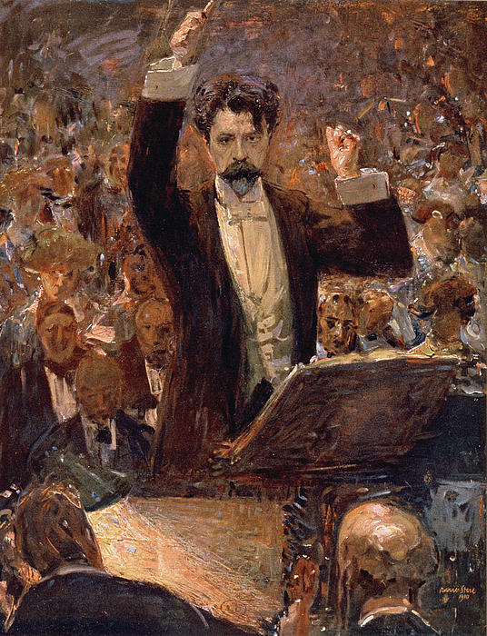 Arthur Nikisch Conducting A Concert At The Gewandhaus In Leipzig Print by Robert Sterl