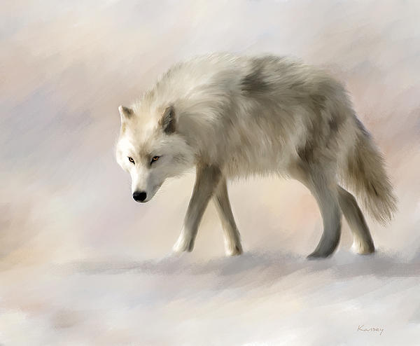 Arctic Wolf Print by Johanne Dauphinais