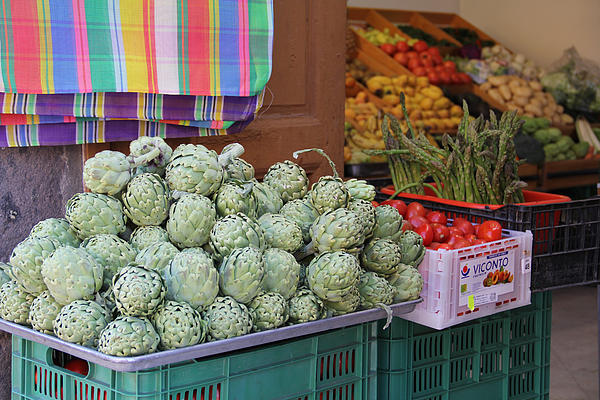 Artichokes And Asparagus Guanajuato Print by Linda Queally