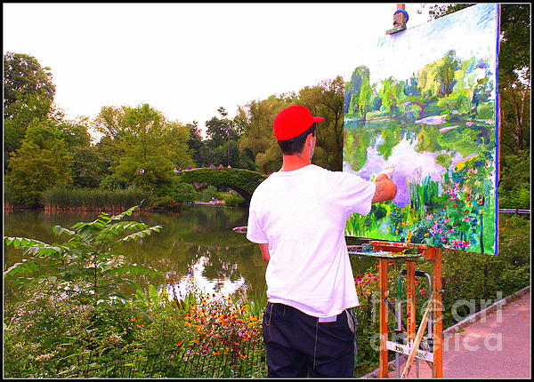 Artist At Work In Central Park Print by  Photographic Art and Design by Dora Sofia Caputo