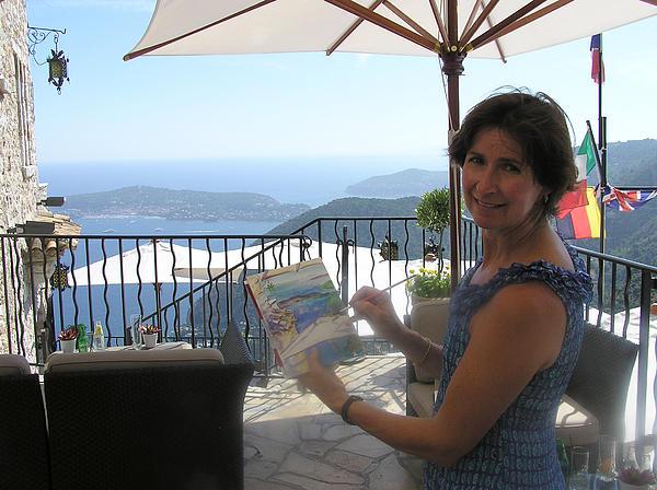 Artist Painting Monaco Print by Valerie Freeman