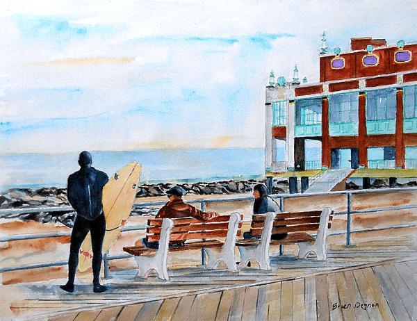 Asbury Park Surfers Print by Brian Degnon