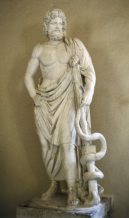 Asclepius. 4th C. Bc. Classical Greek Print by Everett