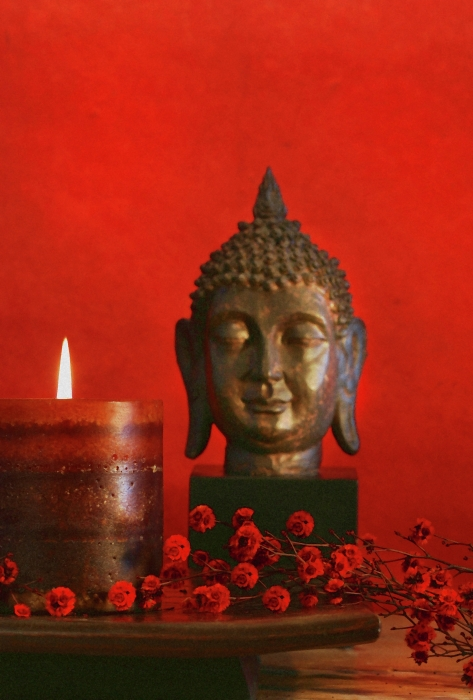 Asian Theme With Candle  Print by Sandra Cunningham