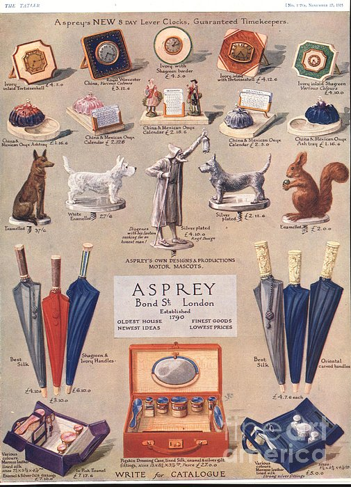 Asprey 1925 1920s Uk Asprey Gifts Print by The Advertising Archives