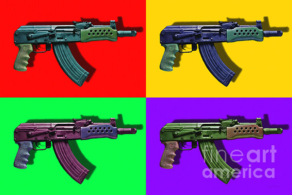 Assault Rifle Pop Art Four - 20130120 Print by Wingsdomain Art and Photography