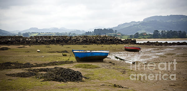 Asturias Seascape With Boats Print by Frank Tschakert