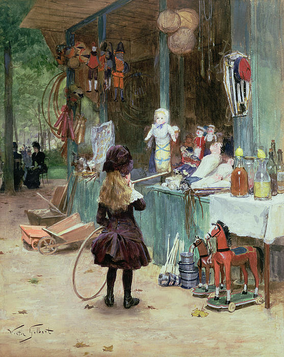 At The Champs Elysees Gardens Print by Victor Gabriel Gilbert