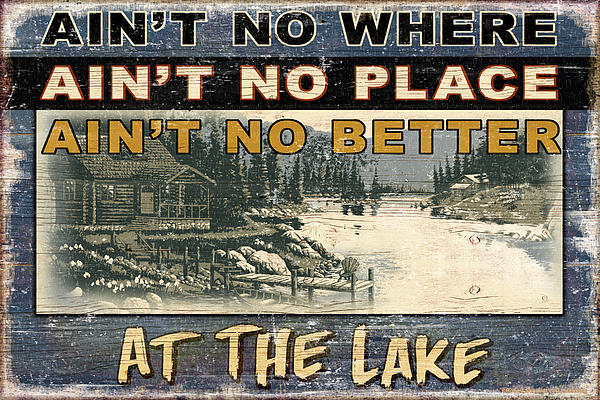 At The Lake Sign Print by JQ Licensing