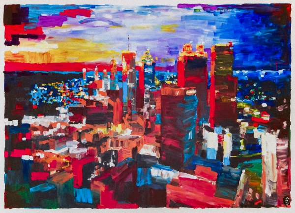 Atlanta skyline evening print by michael leporati for Atlanta oil painting artists