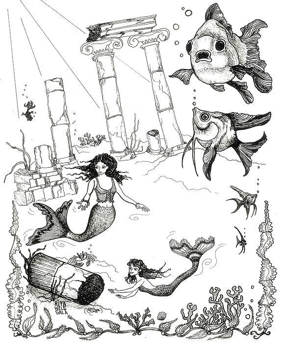 Atlantis Mermaids Print by Rita Welegala