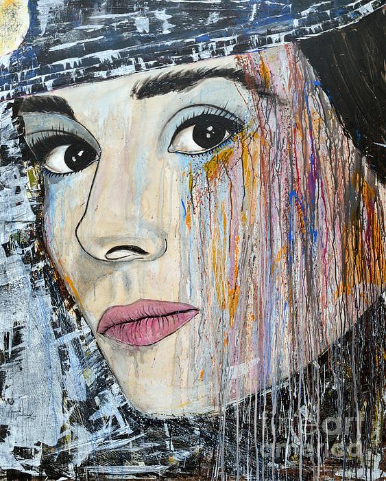 Audrey Hepburn-abstract Print by Ismeta Gruenwald