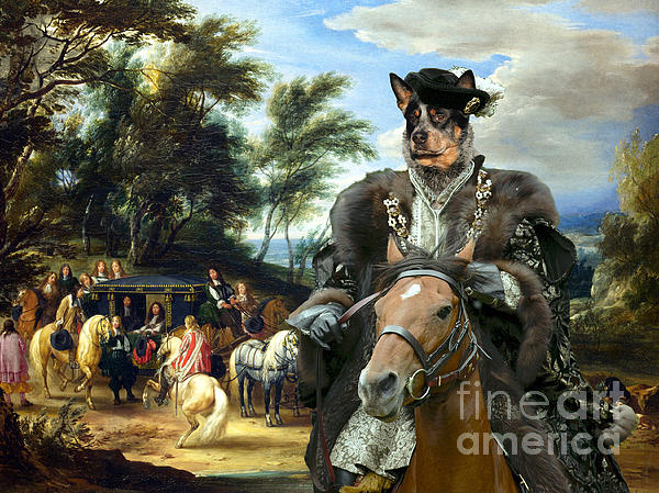Australian Cattle Dog Canvas Print - Philippe Francois D'arenberg Meeting Troops Print by Sandra Sij