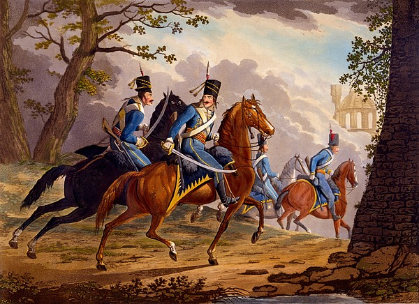 Austrian Hussars In Pursuit Print by Conrad Gessner