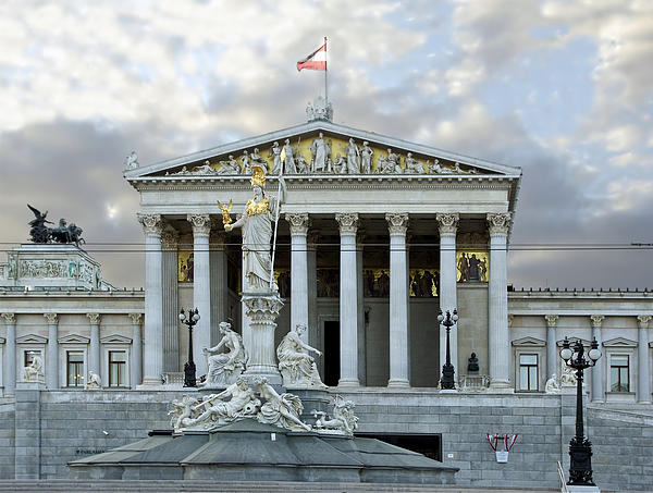 Austrian Parliament Building In Vienna Print by Mountain Dreams