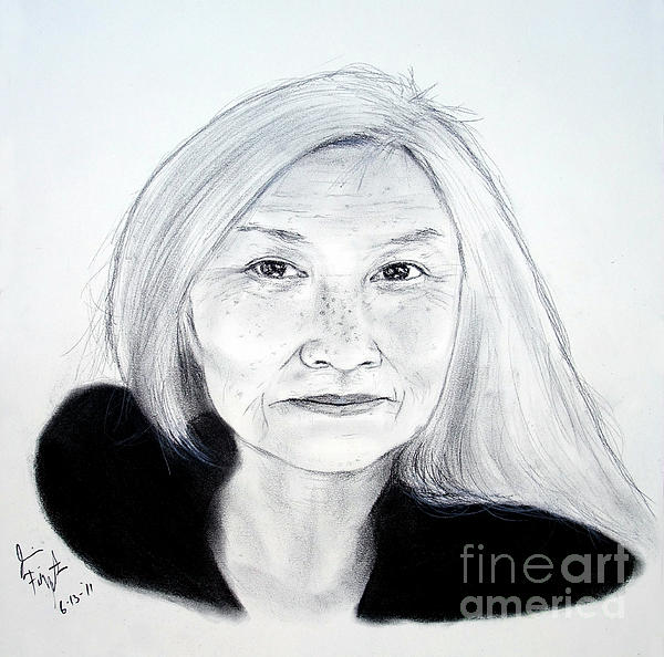 Author And Activist Maxine Hong Kingston Print by Jim Fitzpatrick