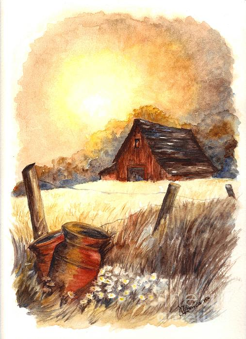Autumn At Macgregors Barn Vignette Wc Print by Carol Wisniewski