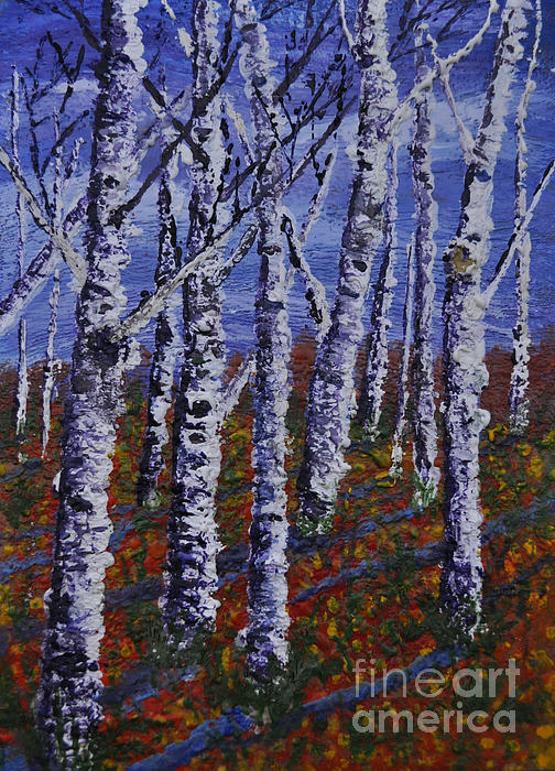 Autumn Birch Stand Print by Lori Kallay