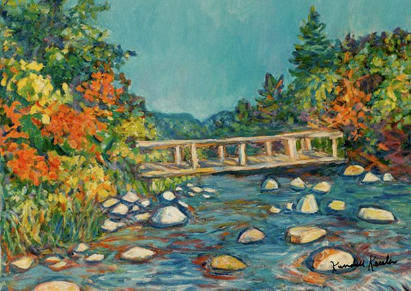 Autumn Bridge Print by Kendall Kessler