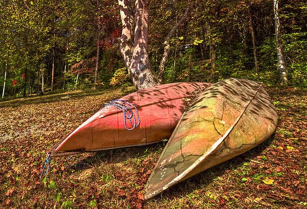 Autumn Canoes Print by Debra and Dave Vanderlaan