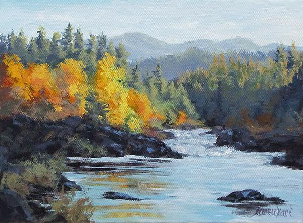 Autumn Falls Print by Karen Ilari