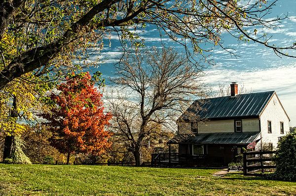 Autumn Farm House Print by Lara Ellis