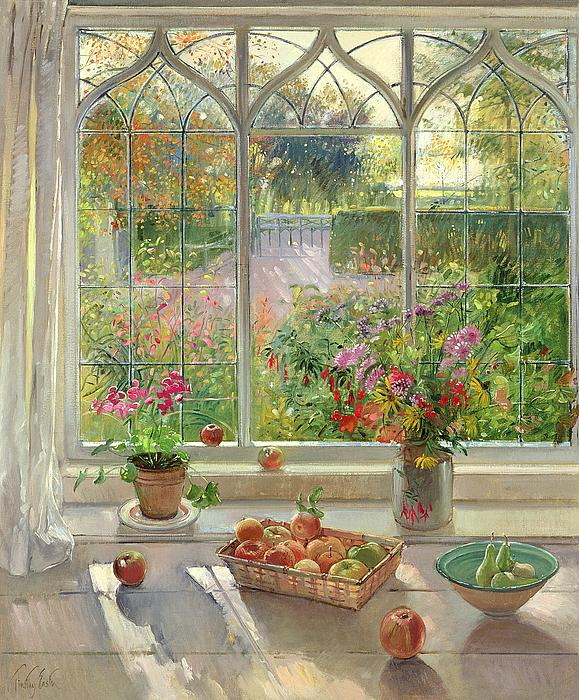 Autumn Fruit And Flowers Print by Timothy  Easton