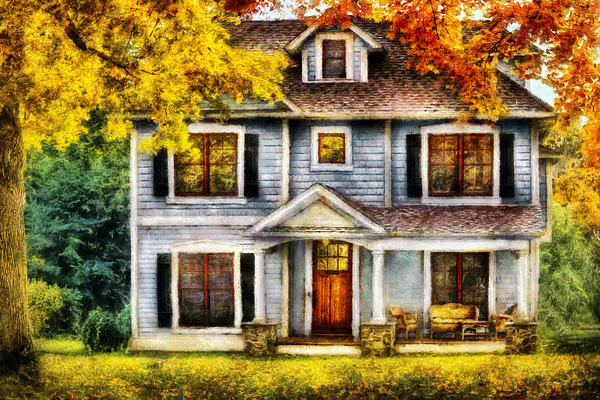 Autumn - House - Cottage  Print by Mike Savad