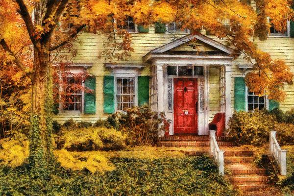 Autumn - House - Local Suburbia Print by Mike Savad