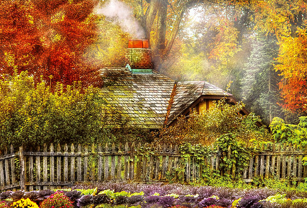 Autumn - House - On The Way To Grandma's House Print by Mike Savad
