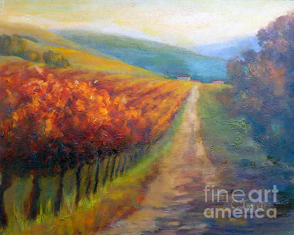 Autumn In The Vineyard Print by Carolyn Jarvis