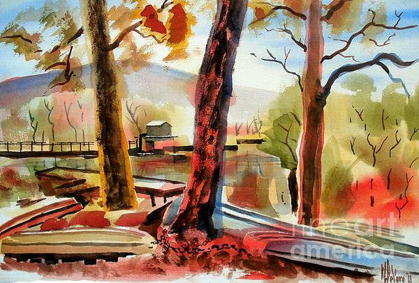 Autumn Jon Boats I Print by Kip DeVore