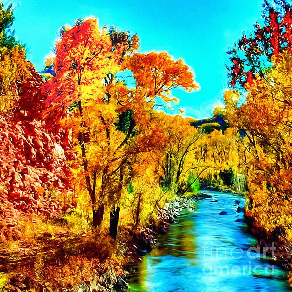 Autumn Oak Creek Sedona Arizona Print by Bob and Nadine Johnston