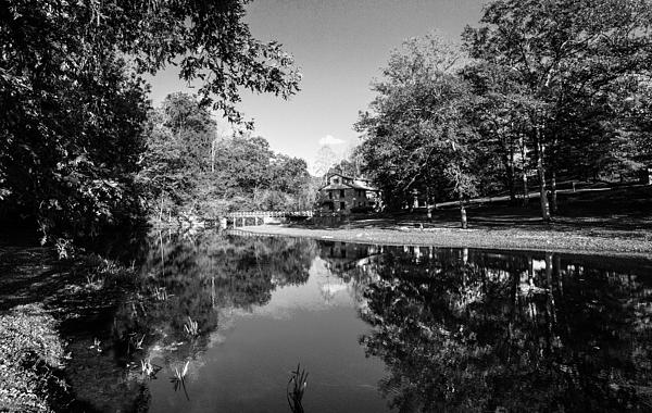 Jerry Cowart - Autumn Reflections in Mill House Pond Fine Art Black and White Photography Print