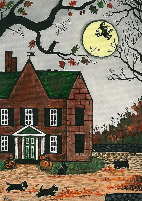 Autumn Scotties Print by Margaryta Yermolayeva