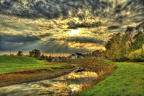 Autumn Sunset Reflection Print by Jim Lepard