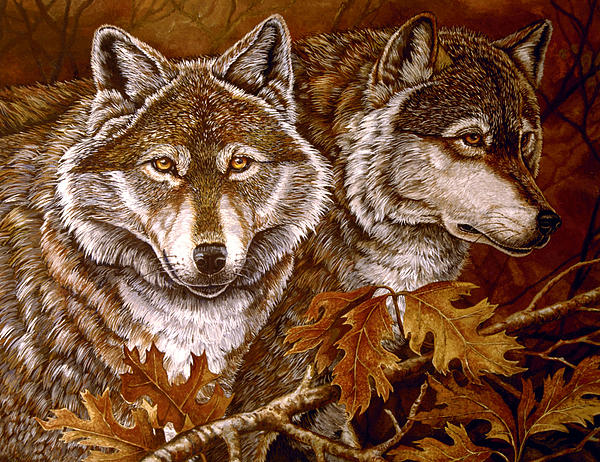 Autumn Wolves Print by Sandy Williams