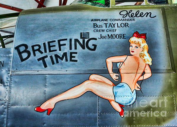 B-25 Bomber Pin Up Girl Print by Lee Dos Santos