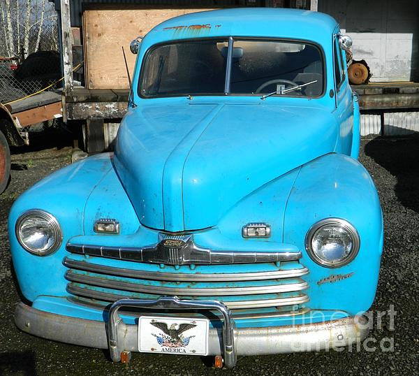 Baby Blue Ford Print by Chalet Roome-Rigdon