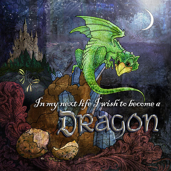 Baby Dragon Print by Evie Cook