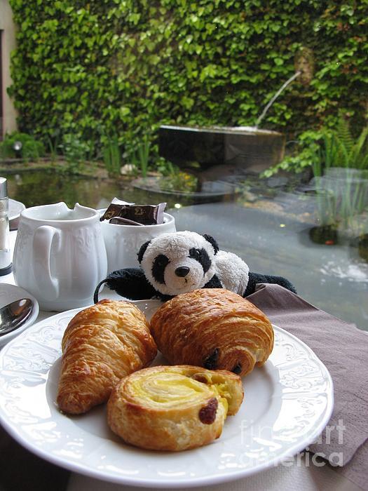 Baby Panda And Croissant Rolls Print by Ausra Paulauskaite