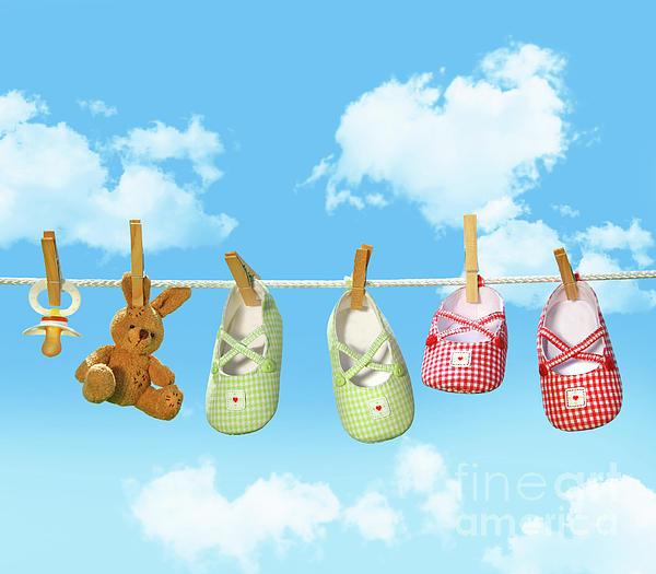 Baby Shoes And Teddy Bear On Clothline Print by Sandra Cunningham