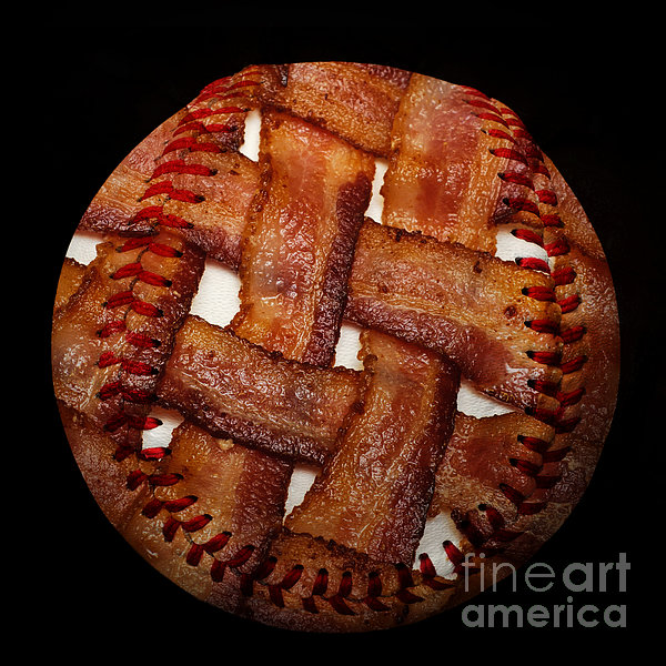 Bacon Weave Baseball Square Print by Andee Design