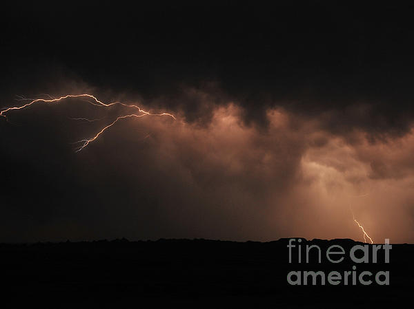 Badlands Lightning Print by Chris  Brewington Photography LLC