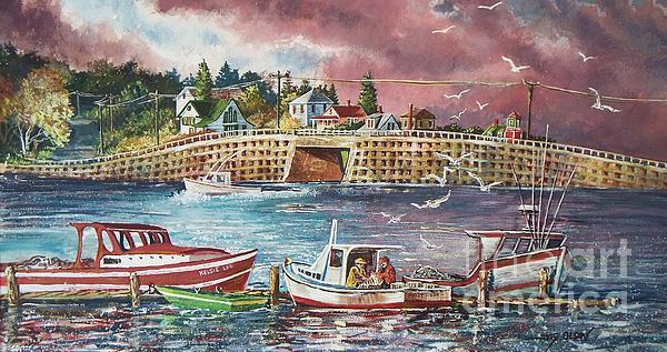 Bailey Island Cribstone Bridge Print by Joy Nichols