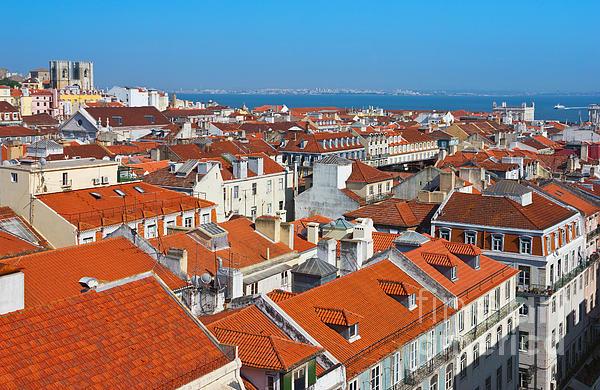 Baixa City Center Of Lisbon Panoramic View Print by Kiril Stanchev