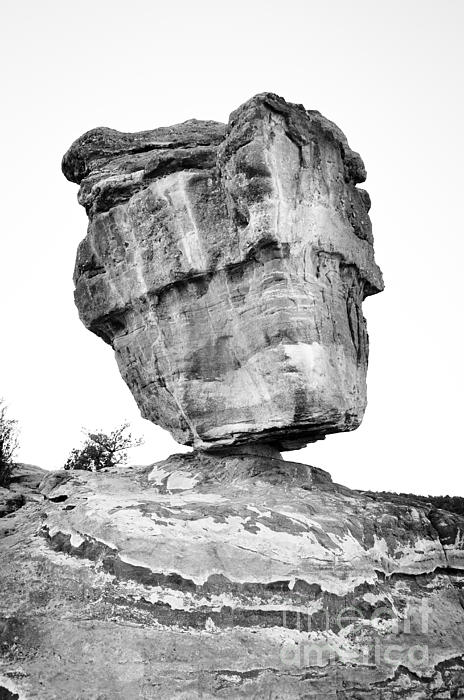 Balanced Rock In Black And White Print by Cheryl McClure