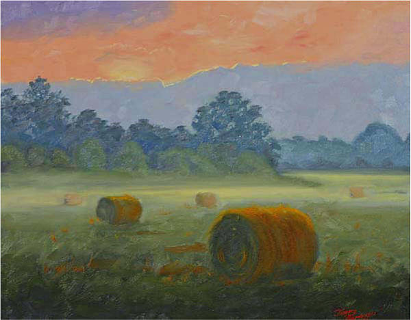 Bales At Dawn Print by Tommy Thompson