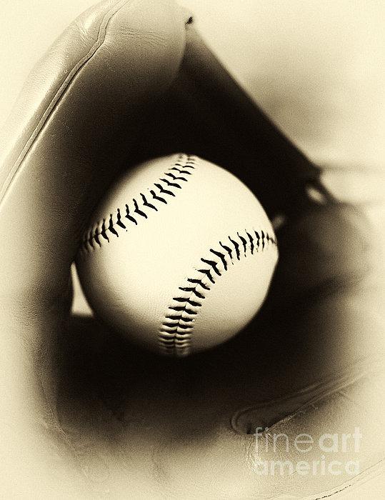 Ball In Glove Print by John Rizzuto