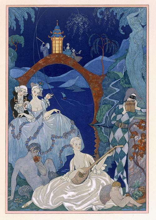 Ball Under The Blue Moon Print by Georges Barbier